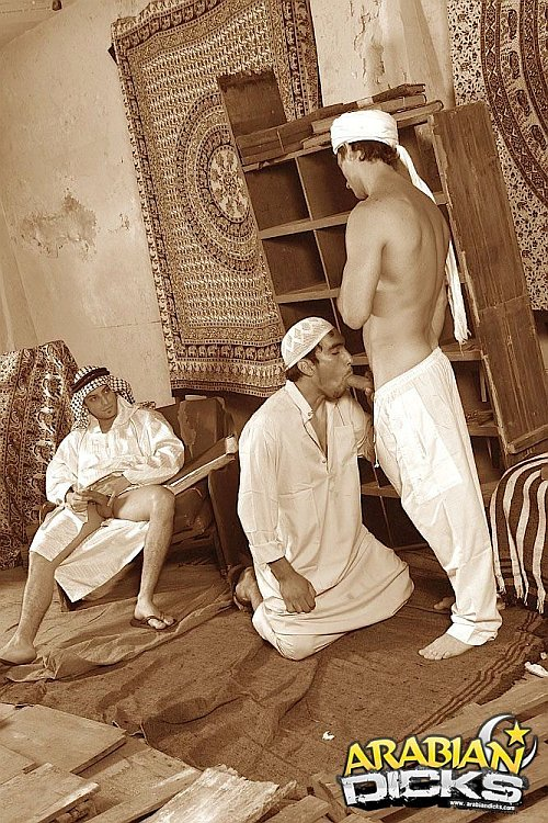 Three horny Arabian studs sucking meat